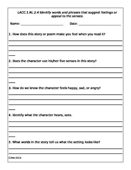 RL.2.4 Identify words and phrases that suggest feelings or