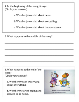 RL3 Wemberly Worried Formative Assessment