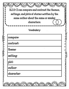 RL3.9 Compare and Contrast Stories by the Same Author Journal Pages