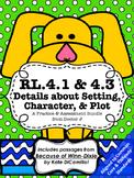 RL4.1 RL4.3 Settings, Characters, and Plot Bundle - Worksheets and Tests