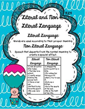 RL4 Literal and Nonliteral Anchor Chart- 3rd Grade