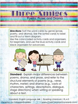 RL.4.5 Fourth Grade Common Core Worksheets, Activity, and Poster