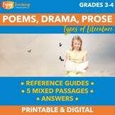 Structural Elements of Poems, Drama, and Prose Practice Pack with Worksheets