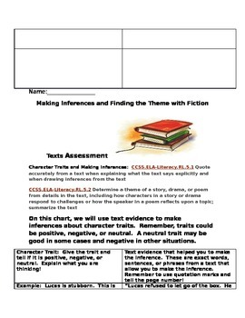 RL5.1 and RL5.2 Practice Sheet and Assessment for in class use 3-6 grade