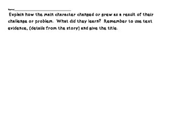 RL5.2 Characters and Character Challenges Theme Graphic Organizer and Assessment