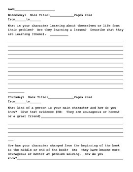 RL5.2 Reading Log or In class response log for Characters/Theme