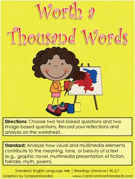 RL.5.7 Fifth Grade Common Core Worksheets, Activity, and Poster