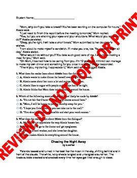 6th Grade RL.6.3 COMMON CORE ASSESSMENT: PLOT, CHARACTERS,SETTING