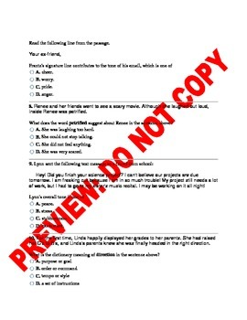 6th Grade RL6.4 COMMON CORE ASSESSMENT:Word Meanings and Phrases