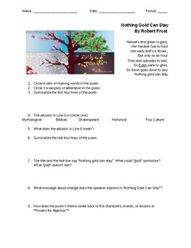 RL8.4 Poem Analysis - Nothing Gold Can Stay (pair text w/ Flowers for Algernon)