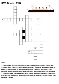 RMS Titanic Crossword