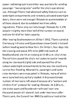 RMS Titanic Handout