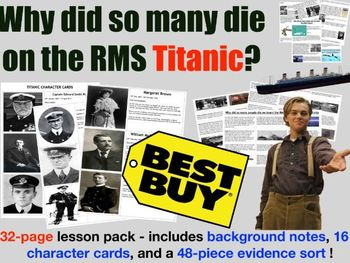 RMS Titianic - Why did so many people die? Card Sort & Debate Activity
