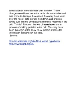 RNA: The First Nucleic Acid