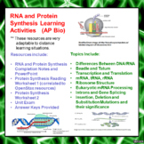 RNA and Protein Synthesis Learning package for AP Biology of Advanced Biology