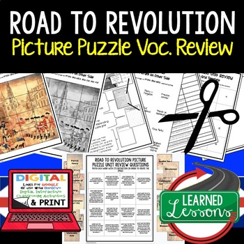 ROAD TO REVOLUTION Picture Puzzle Unit Review, Study Guide, Test Prep