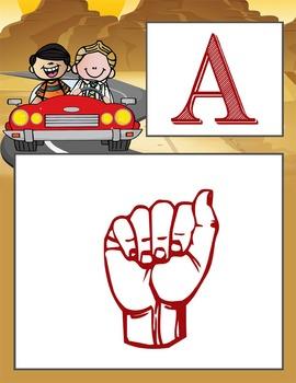 ROAD TRIP - Alphabet Flag Banner, SIGN LANGUAGE