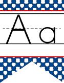 ROAD TRIP - Alphabet Flag Banner, handwriting, A to Z, ABC print font