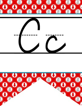 ROAD TRIP - Alphabet Flag Banner, handwriting, A to Z, D'Nealian cursive font