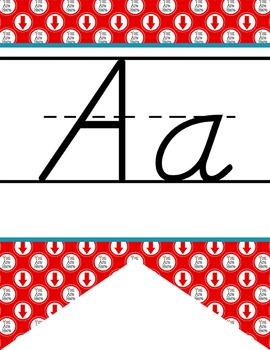 ROAD TRIP - Alphabet Flag Banner, handwriting, A to Z, D'Nealian manuscript