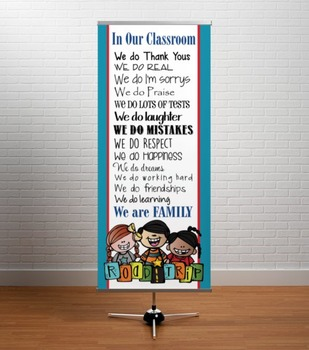 ROAD TRIP - Classroom Decor: LARGE BANNER, In Our Classroom We are Family