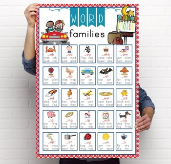 ROAD TRIP - Classroom Decor: Language Arts, Word Families POSTER - size 24 x 36