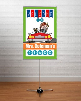 ROAD TRIP - Classroom Decor: WELCOME Banner - Medium, you personalize, Design D