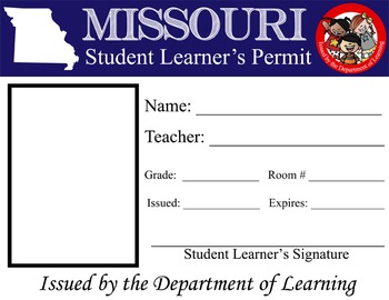 ROAD TRIP - Student Learner's Permit / License to Learn / fun activity