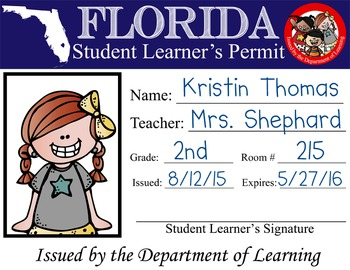 ROAD TRIP - Student Learner's Permit / License to Learn /