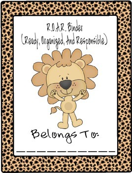 R.O.A.R. (Ready, Organized and Responsible) Student Binder Cover
