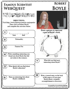 ROBERT BOYLE Science WebQuest Scientist Research Project Biography Notes
