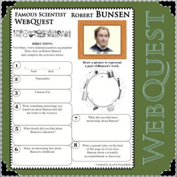 ROBERT BUNSEN Science WebQuest Scientist Research Project Biography Notes