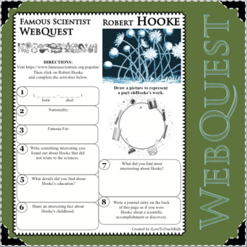 ROBERT HOOKE Science WebQuest Scientist Research Project Biography Notes