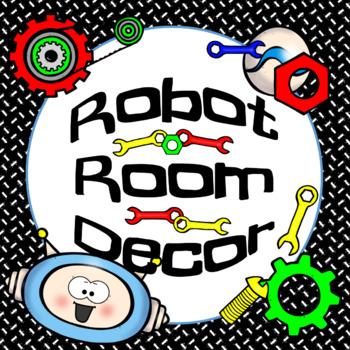 ROBOT Classroom Decor, Calendar and Name Tags {editable}