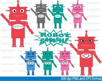 ROBOT Clip Art School super hero retro toy robots printable colorful eps -058-