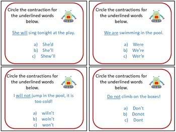 ROBOT Contraction Task Cards