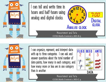 """ROBOTS - 1st Grade Common Core Standards """"I CAN"""" format / posters"""