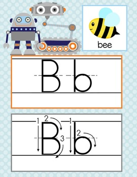 ROBOTS - Alphabet Cards, Handwriting, ABC Flash Cards, ABC print with pictures