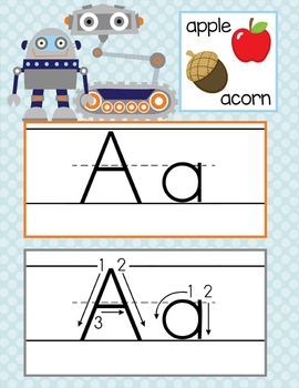 ROBOTS - Alphabet Cards, Handwriting, ABC Flash Cards, ABC