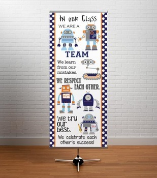 ROBOTS - Classroom Decor: LARGE BANNER, In Our Class / blue