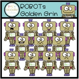 ROBOTS GOLDEN GRIN EXPRESSIONS CLIP ART BUNDLE
