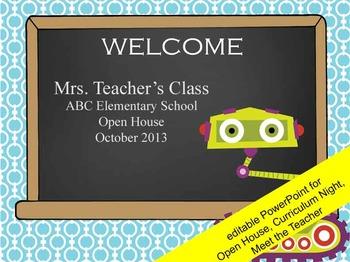 ROBOTS - PowerPoint, Open House, Curriculum Night, Meet th
