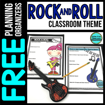 ROCK AND ROLL Theme Decor Planner by Clutter Free Classroom