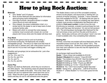 ROCK AUCTION Multiplication/Times Tables Card Game