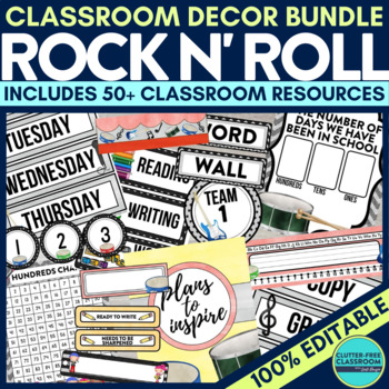 ROCK and ROLL THEME Classroom Decor EDITABLE
