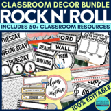 ROCK and ROLL THEME Classroom Decor EDITABLE Clutter-Free
