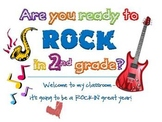 ROCK STAR Goodie Bag Tag for 2nd Grade