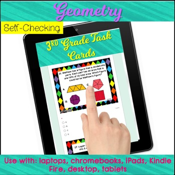ROCK THE TEST Digital Geometry Task Cards with Word Problems for 3rd Grade