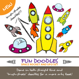 ROCKET AND UFO FUN DOODLE SET
