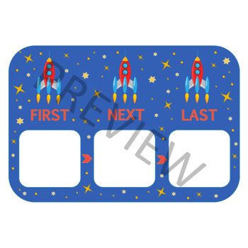 "ROCKET THEMED ""FIRST, NEXT, LAST"" TASK BOARD"